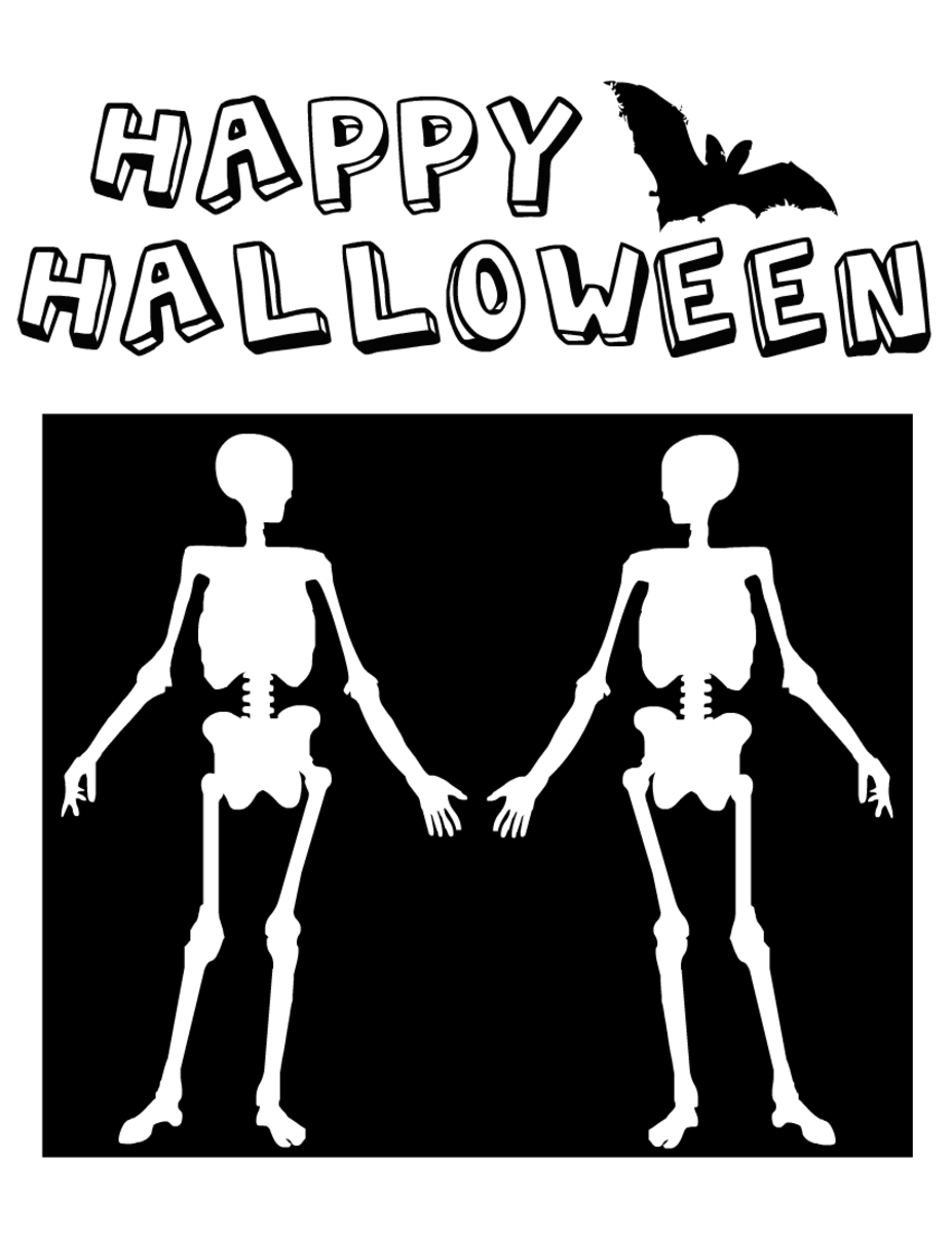 Halloween coloring pages: Halloween skeletons