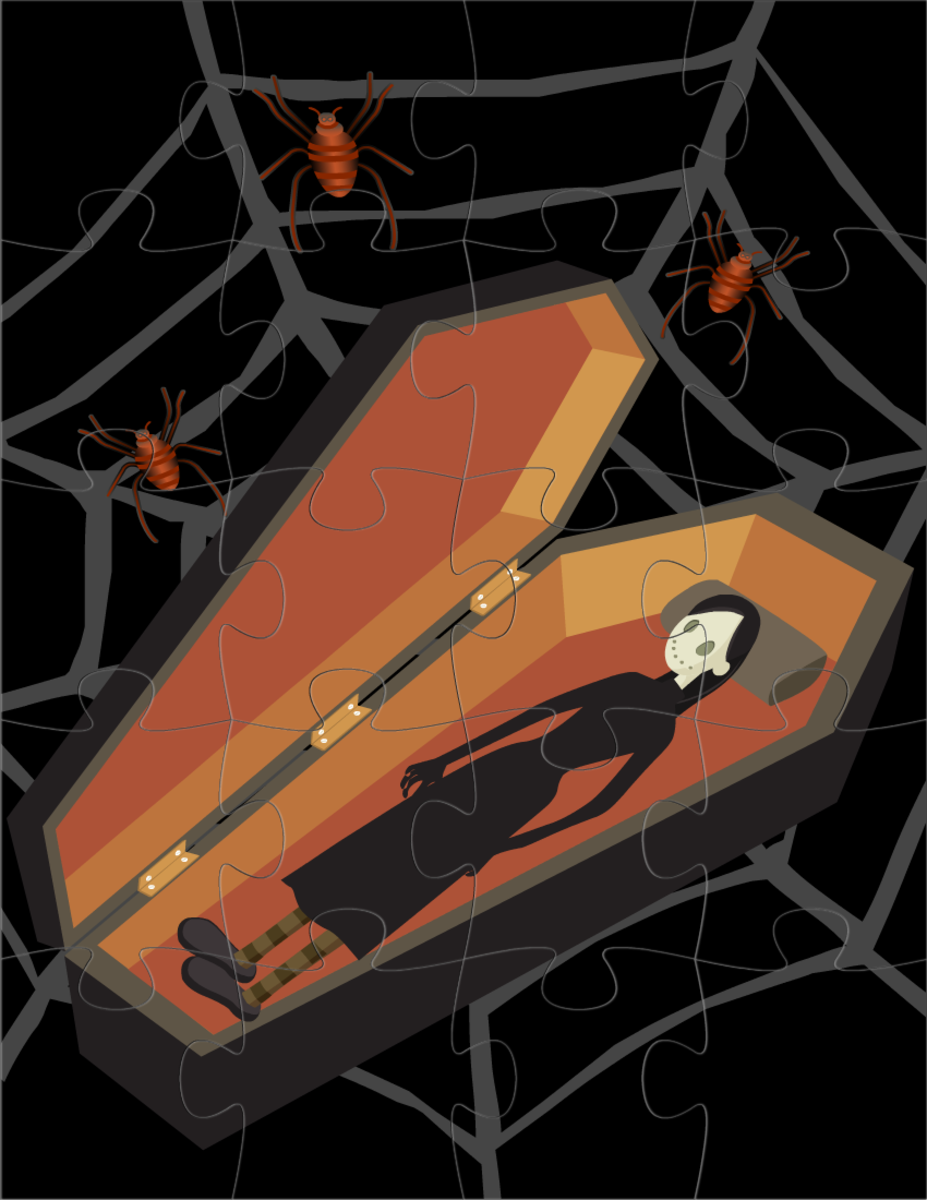 Halloween crafts: make your own zombie in a coffin jigsaw puzzle