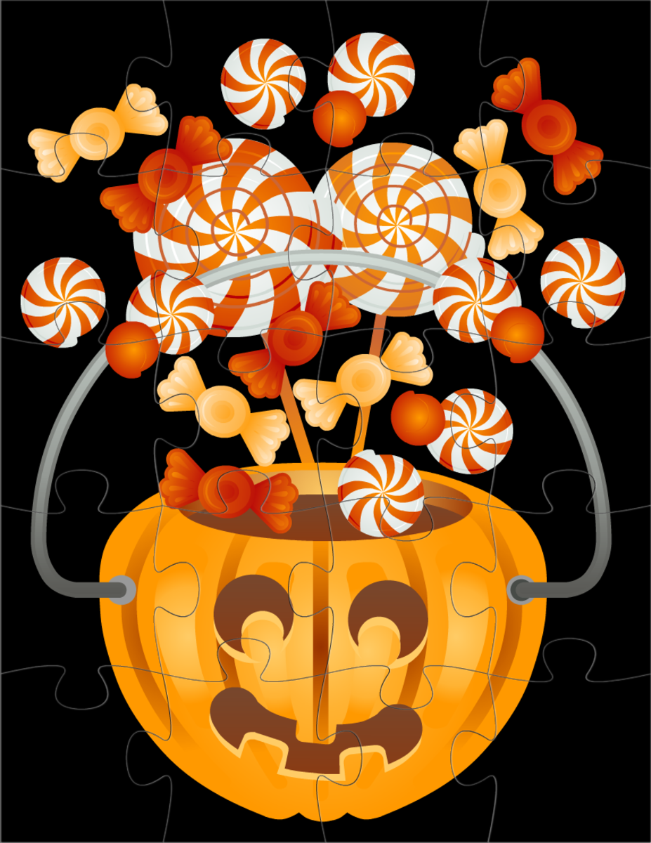 Halloween crafts: make your own pumpkin and candy jigsaw puzzle