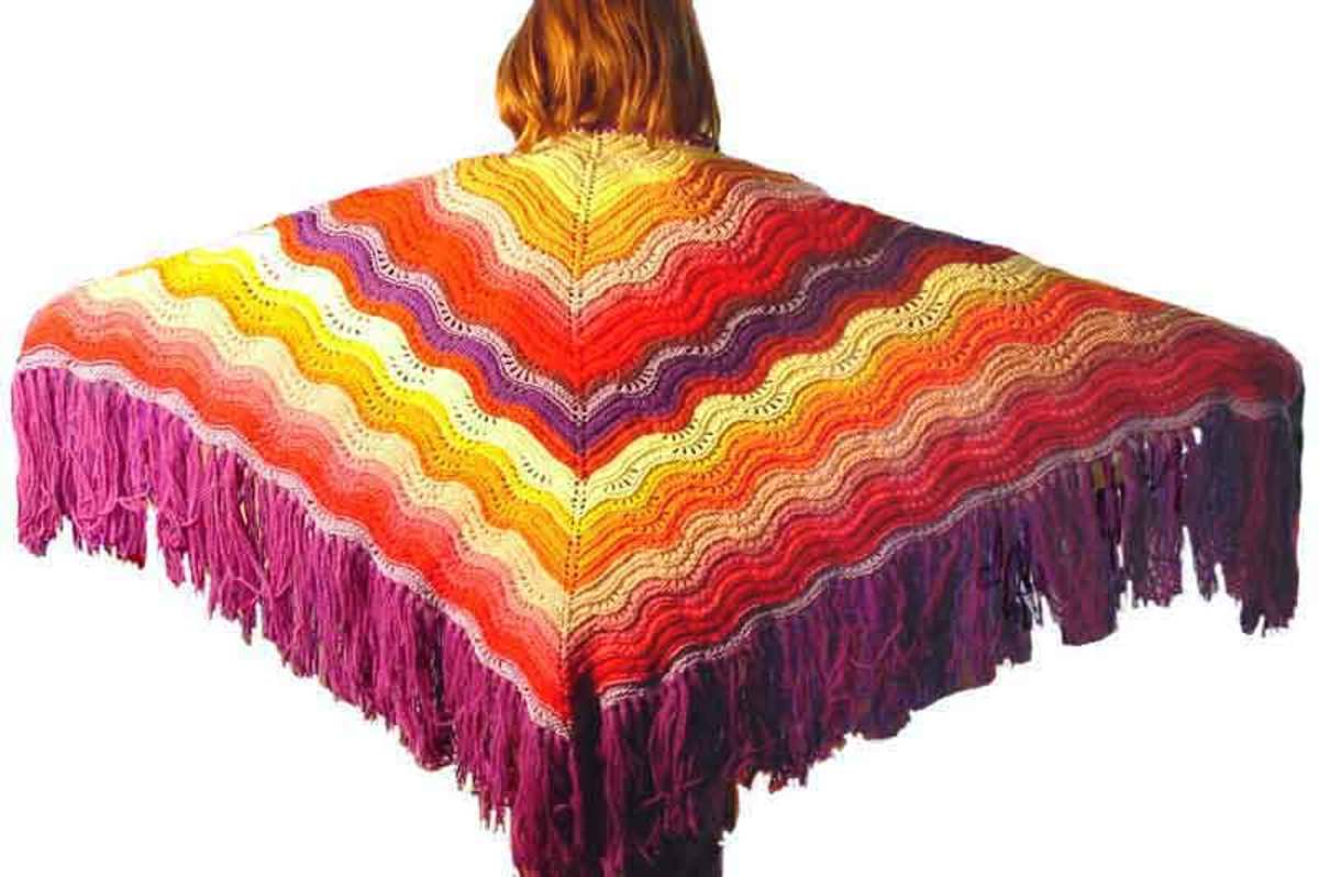 The Feather and Fan Comfort Shawl, found at Knitting-and.com.