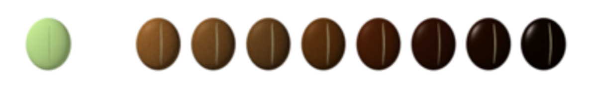 scale of roasted coffee beans