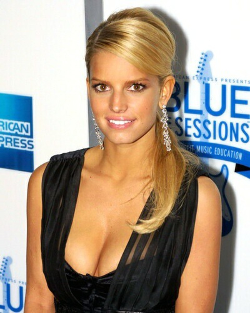 jessica simpson slick ponytails for medium hair