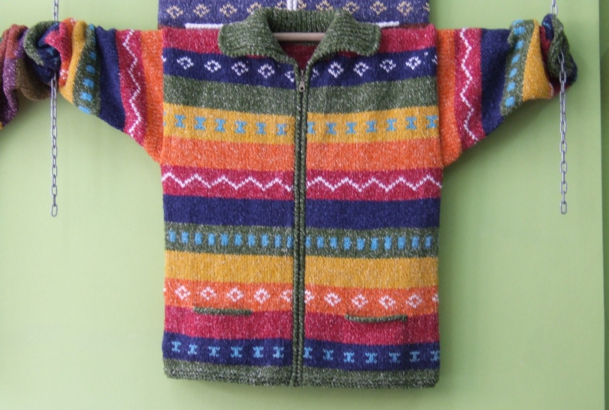 One of the countless handknit sweaters for sale in Otavalo.