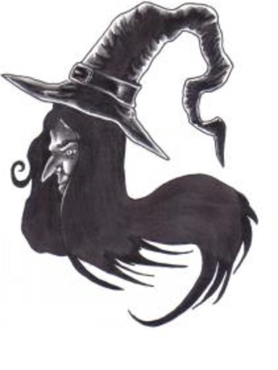 The classic witch design, complete with black witches hat and hook nose.