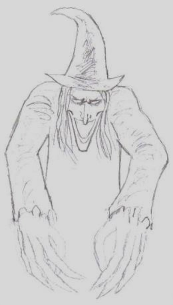 How to draw a witch.