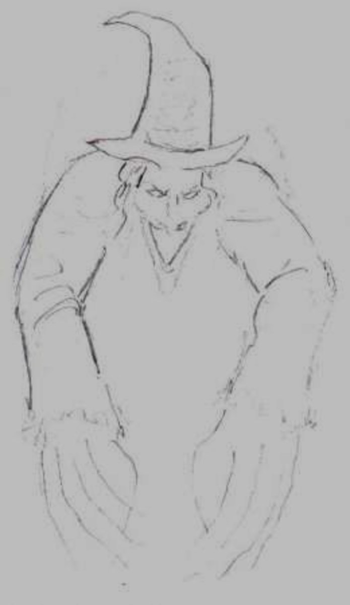 Sketching a witch.