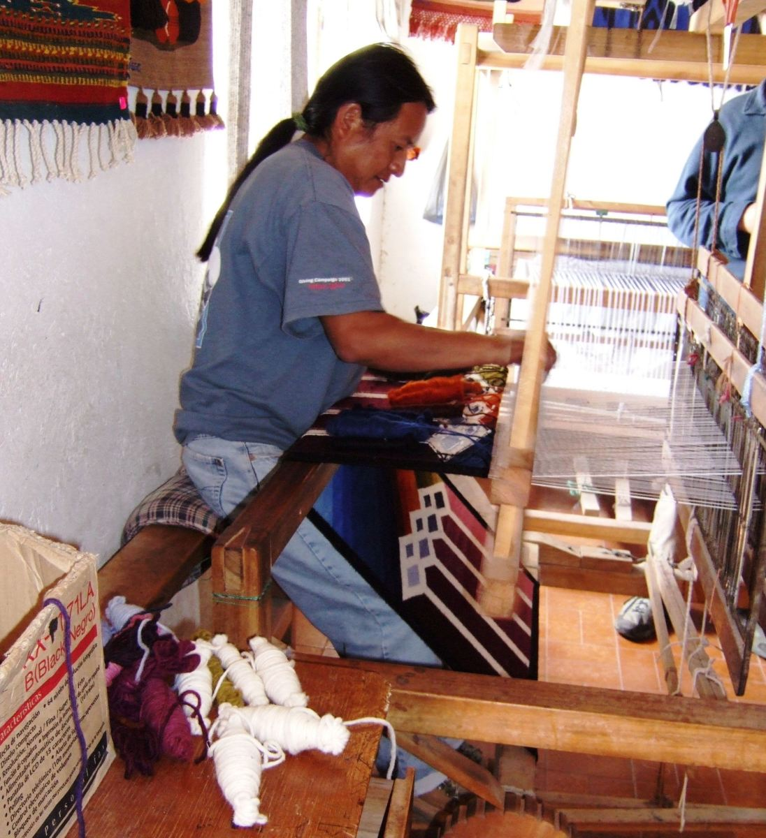Jose Cotacachi at work in his weaving studio.