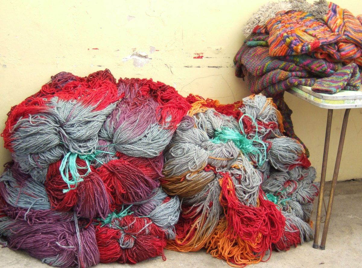 Yarns waiting to be made into sweaters in Otavalo workshop