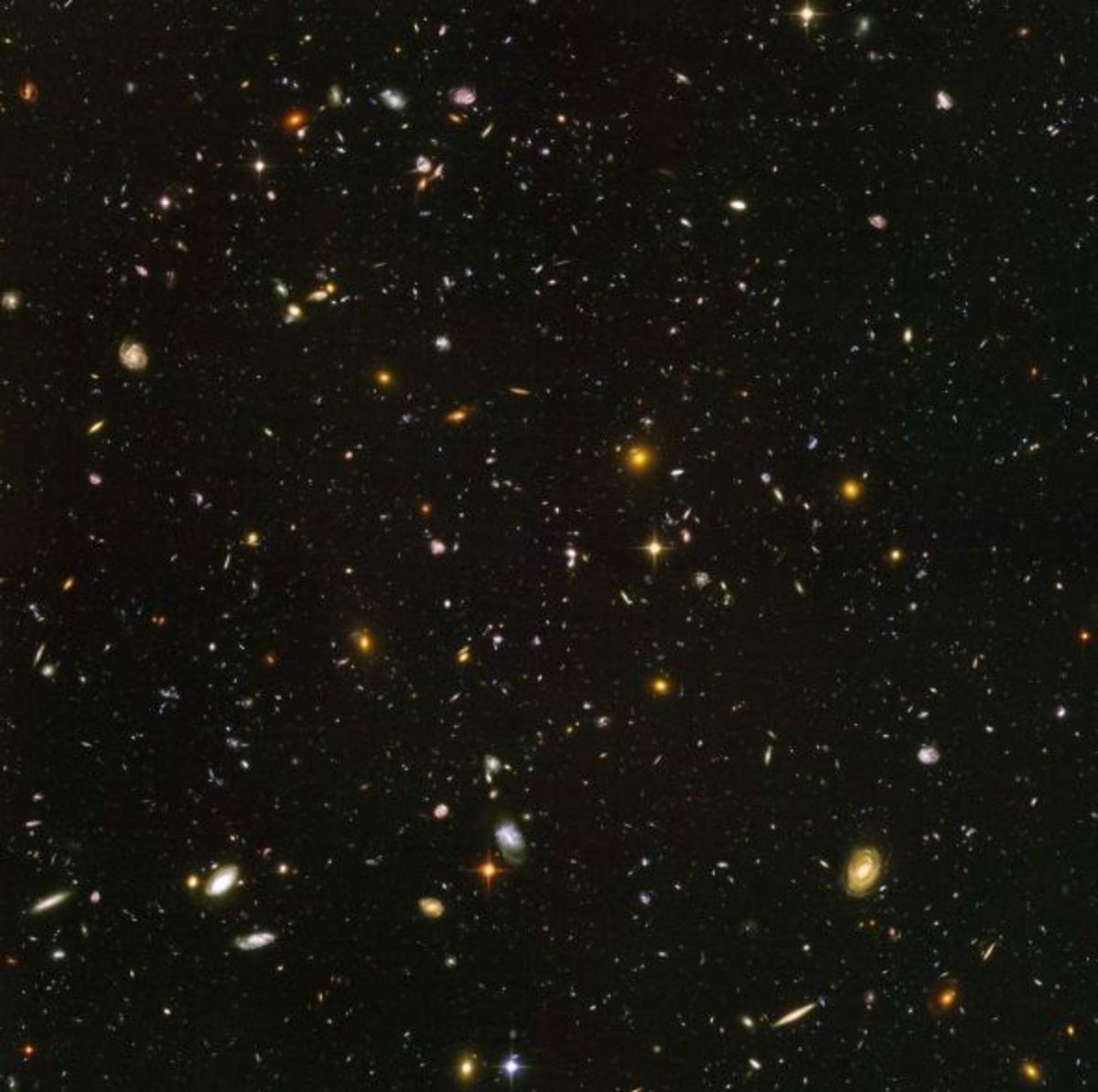 Around 10,000 galaxies 13 billions of light years away can be seen in this picture.