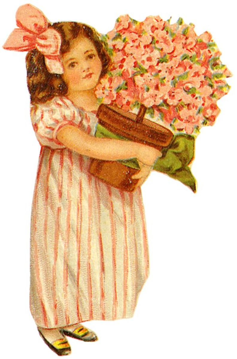 Little girl in striped dress carrying a pot of azaleas