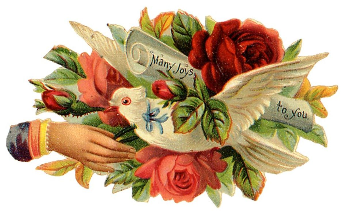 "Dove with flowers and Victorian woman's hand ""Many Joys to You"""