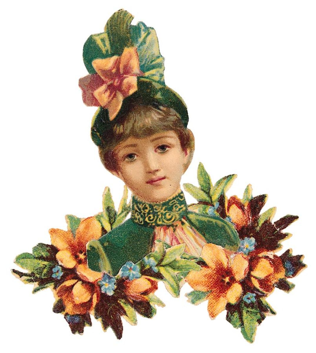 Victorian woman with flowered hat