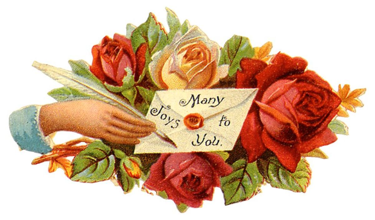 "Roses and Victorian woman's hand ""Many Joys to You"""