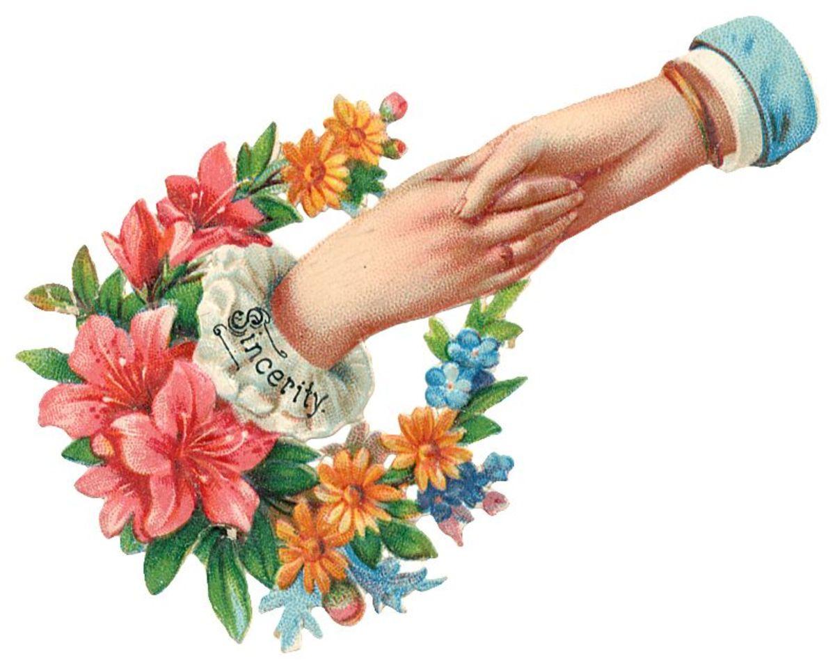 "Mothers Day clip art: Victorian women's hands ""Sincerity"""
