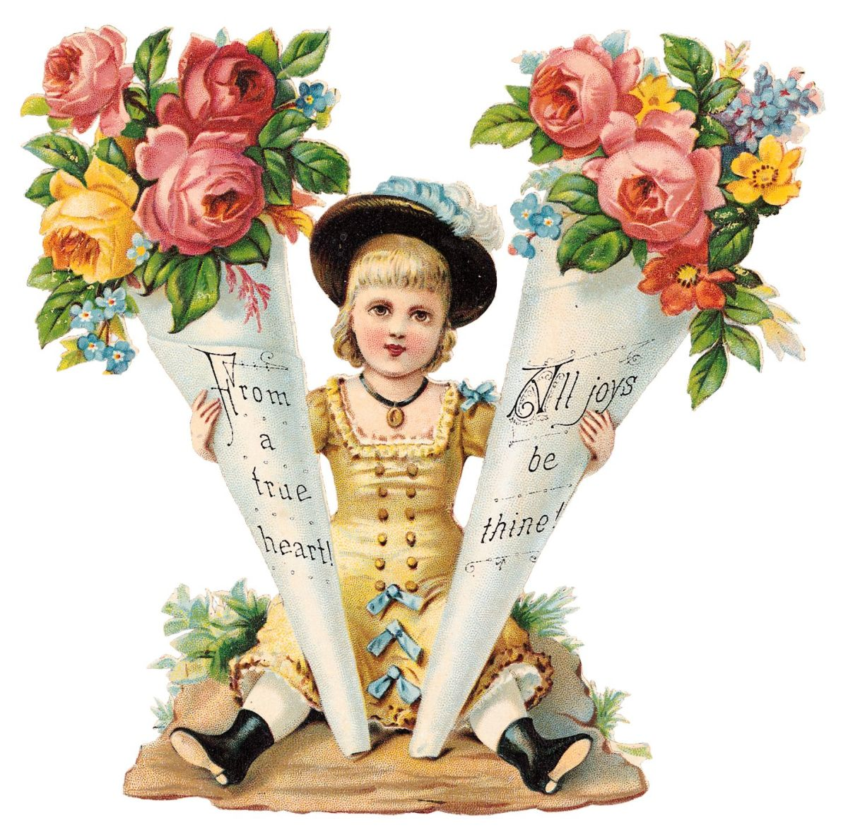 """Vintage Mothers Day clip art: Victorian child with flower cones """"From a true heart; All joys be thine"""""""