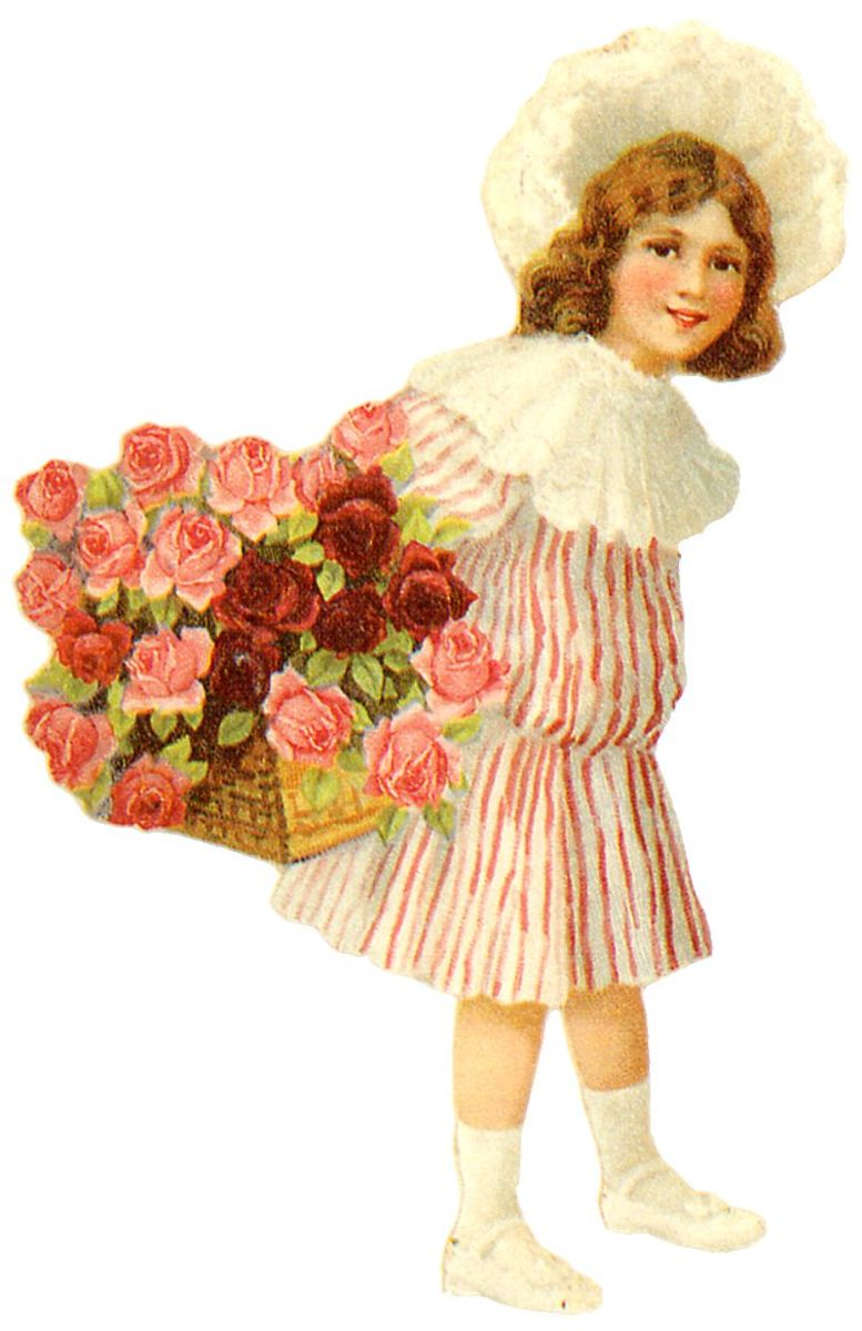 Little girl in striped dress and white hat carrying a basket of pink and red roses