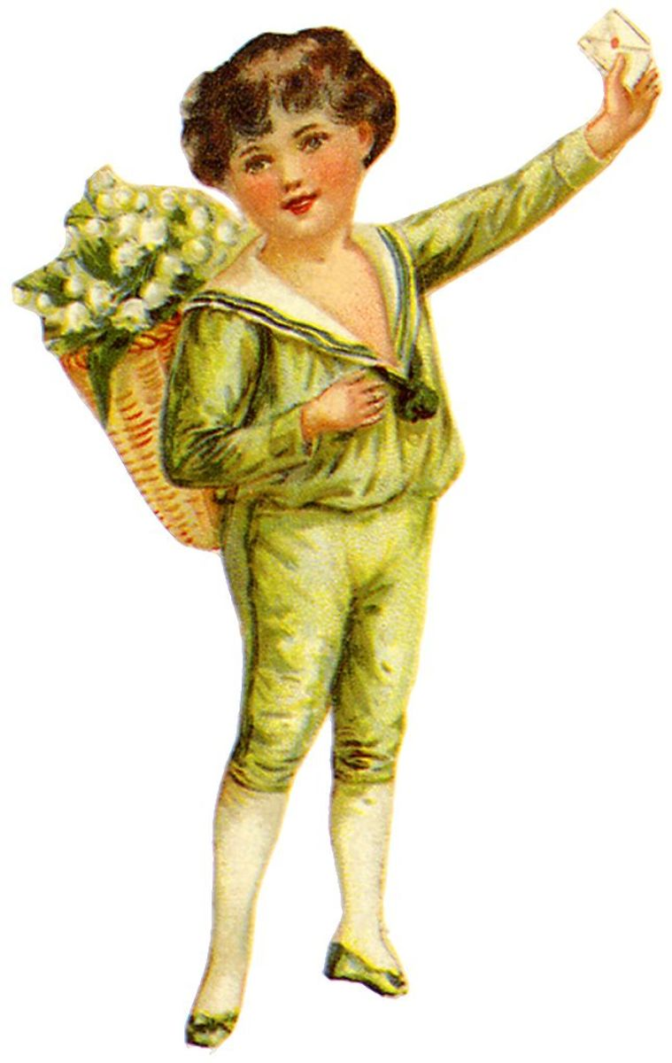 Victorian little boy in green suit with flower basket