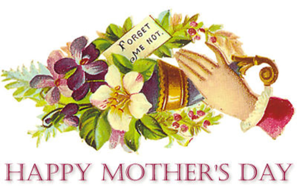 Free mothers day clip art: victorian hand with flower bouquet and forget-me-not note