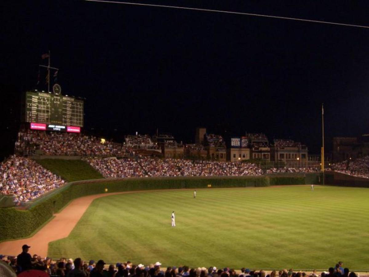 Wrigley Field at night