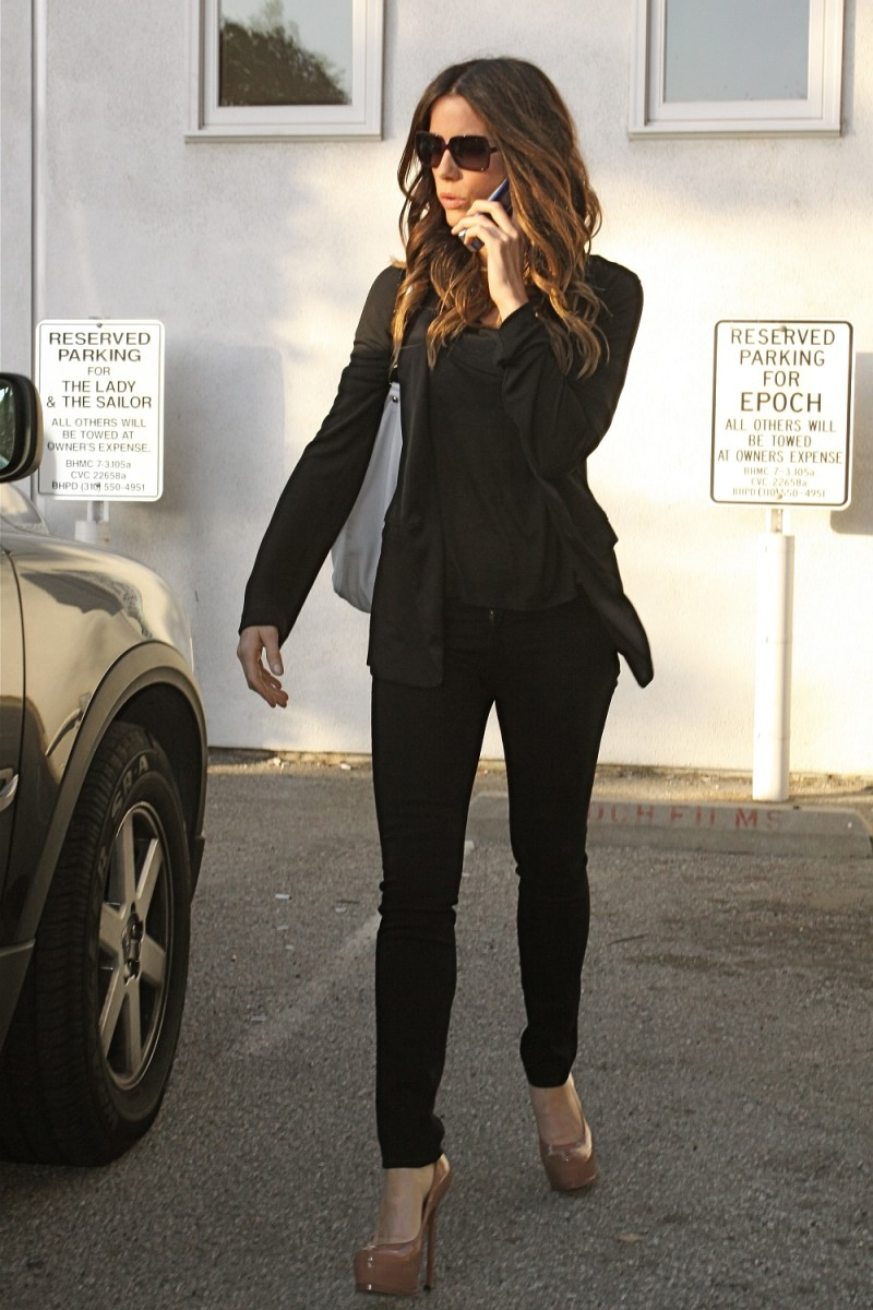 Kate Beckinsale hair salon high heels