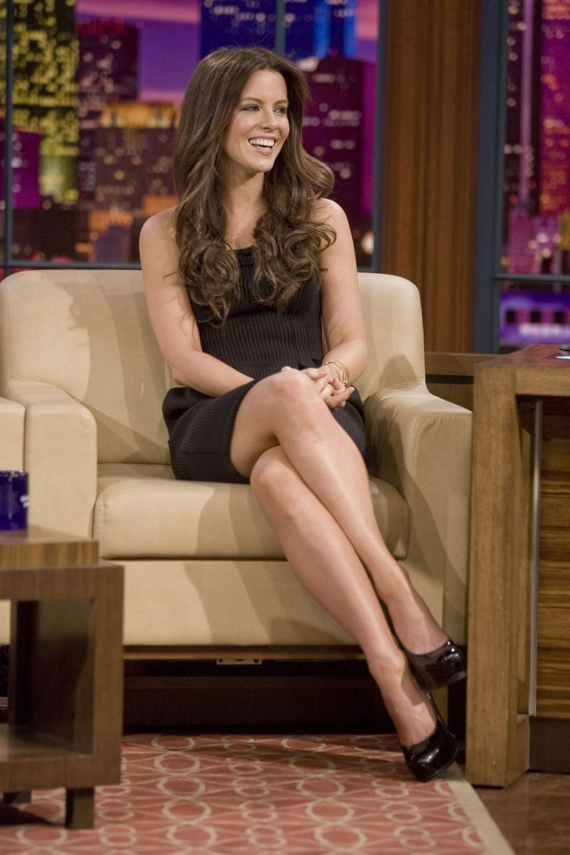 Kate Beckinsale visits the Late Show in Dec. 2008 wearing towering high heels and a little black dress. her crossed legs are fabulous.