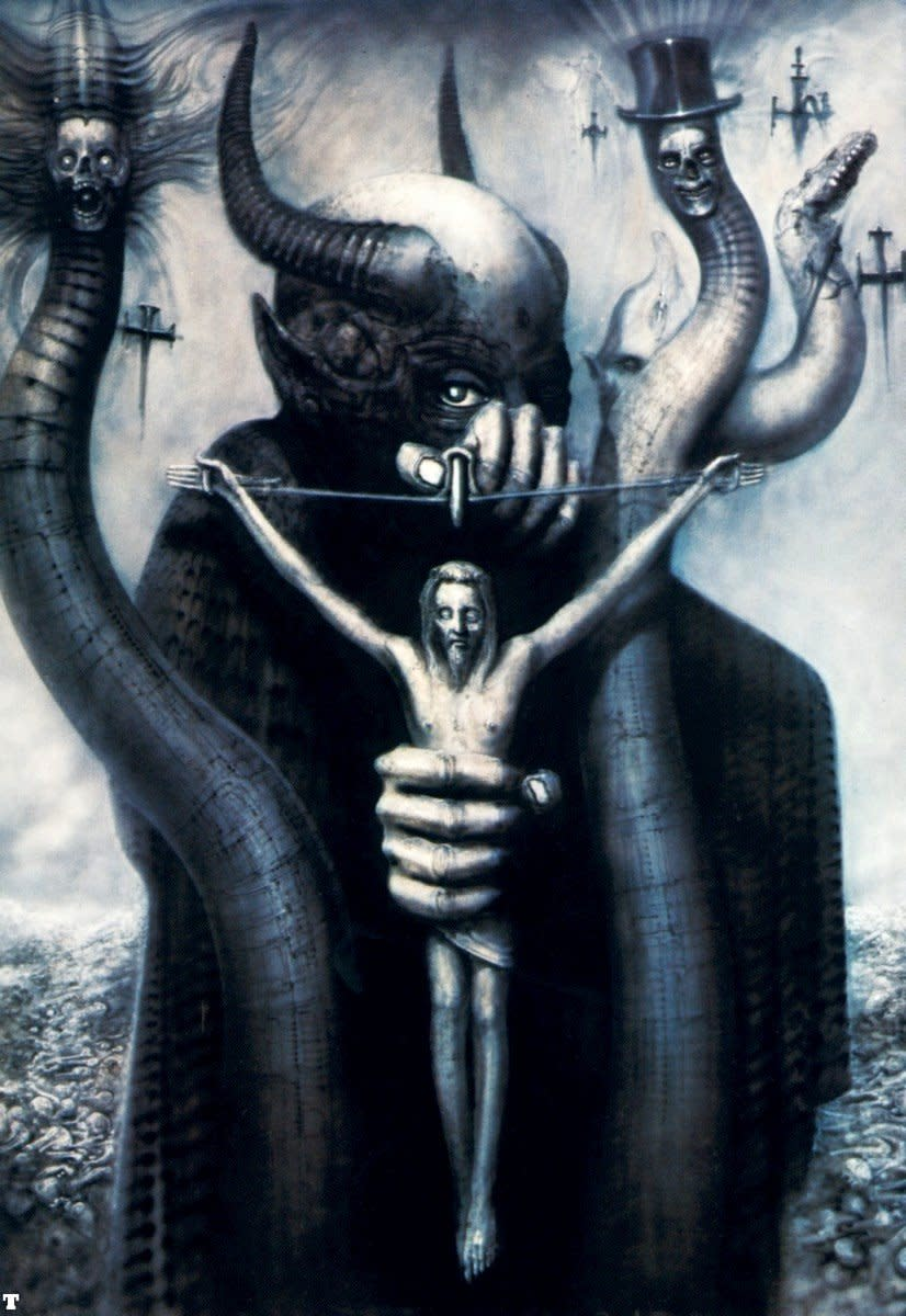 Satan I by H R Giger - Great illustrartion about how art is sometimes an idea [perhaps painful] inexpressiable in any other medium.