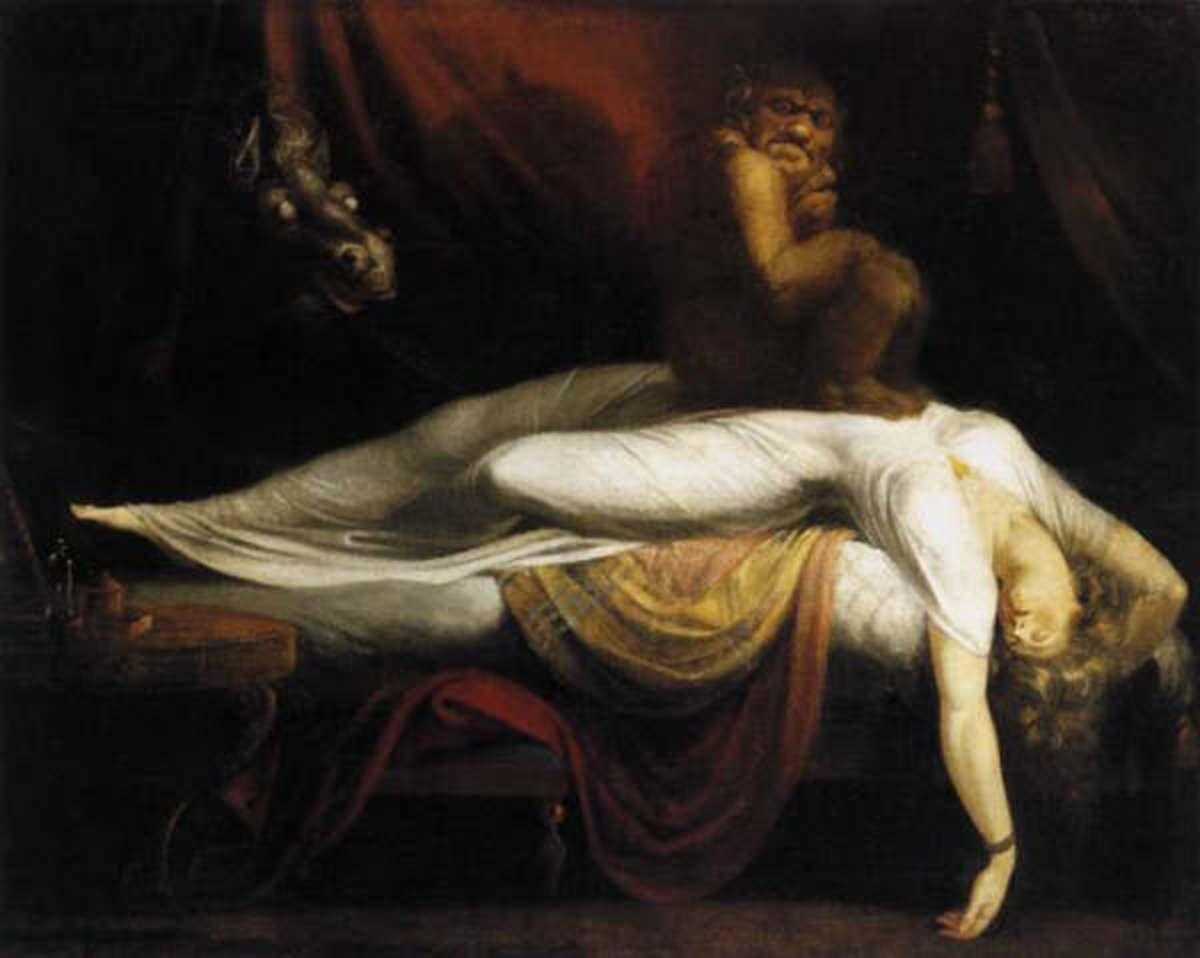The Nightmare by Henry Fuseli   (1781) depicting a woman and two incubi.