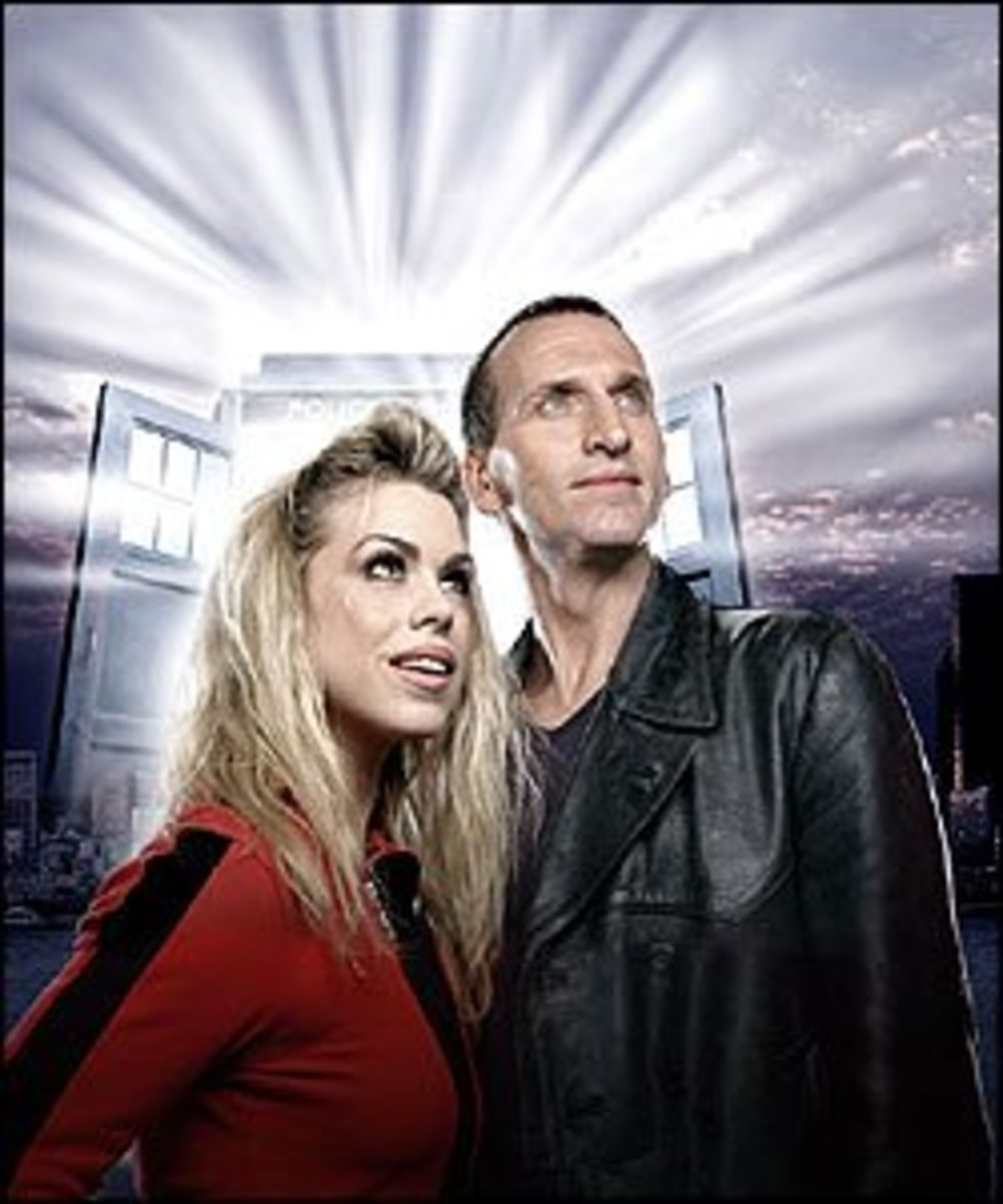 Christopher Eccleston as the Ninth Doctor (my favorite) and his companion Rose (Billie Piper)