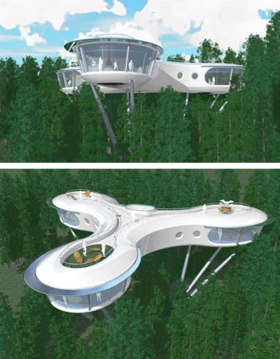 The Syberite tree house project blends modular design with low-impact living. Layouts are allowed to conform to the natural landscapes around them to take maximum advantage of views and natural light without disturbing the local environment.