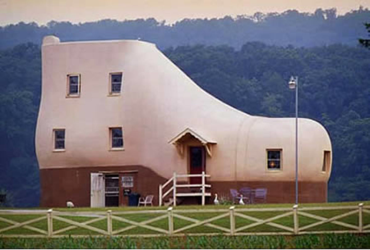 The Shoe House in Hellam (Pennsylvania, USA). It was an actual guesthouse (3 bedroom, 2 baths, a kitchen and a living room)