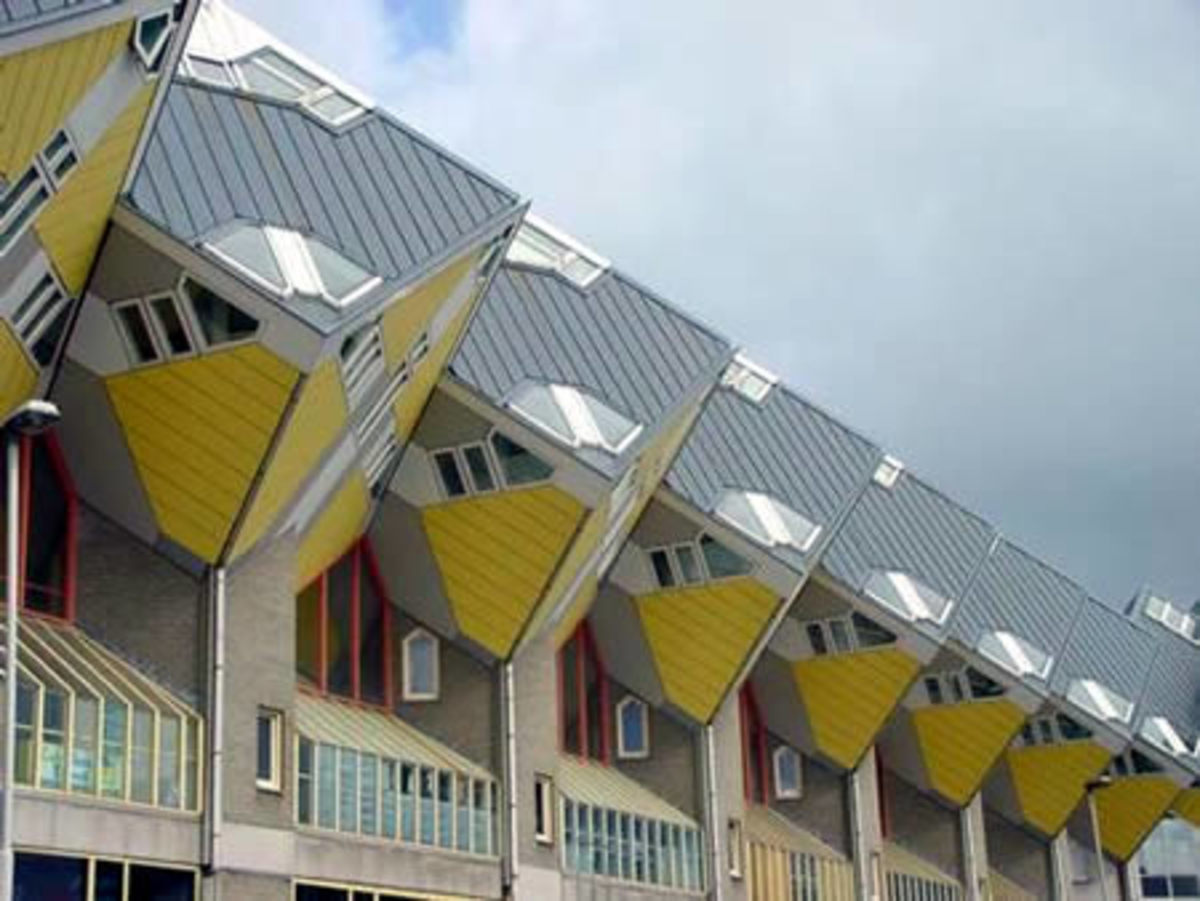 The Cube houses, in Rotterdam (Holland). There are thee floors to each house.