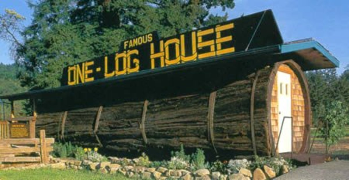 The One Log House, in Garberville (California, USA). It is a one-bedroom house hollowed out from a single log that came from a 2,100-year old redwood tree. After felling this 13 foot diameter forest giant, Art Schmock and a helper needed 8 months of