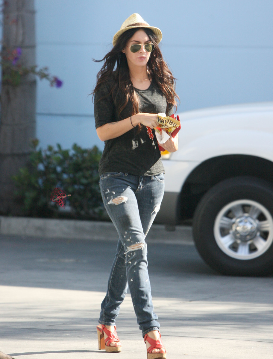 Megan Fox out and about in L.A. on July 1, 2009 wearing funky and clunky high heel sandals