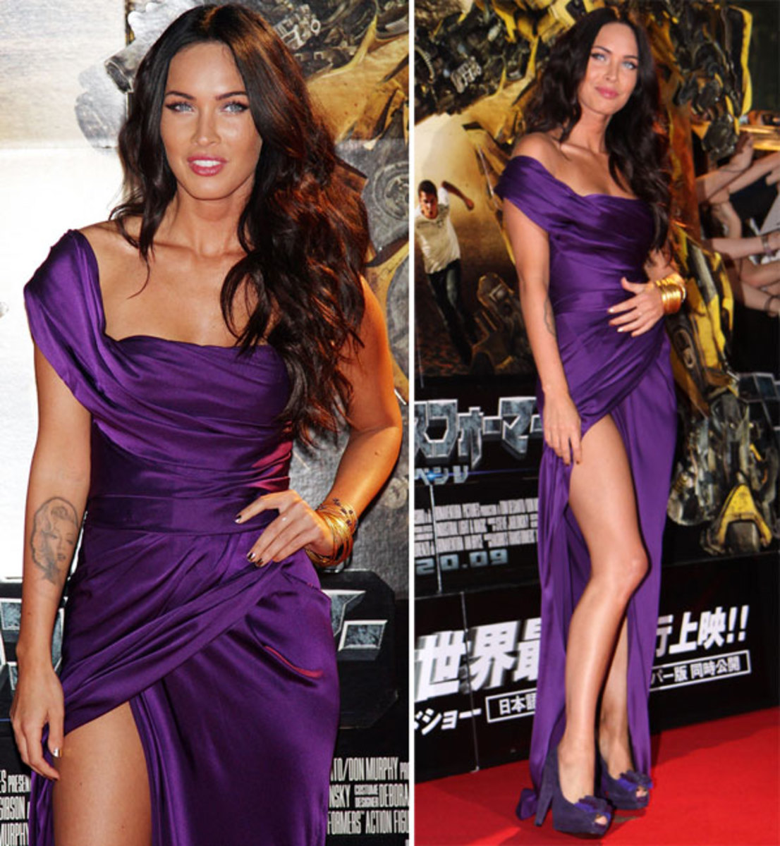 Megan Fox in a purple dress with a revealing slit and high heels