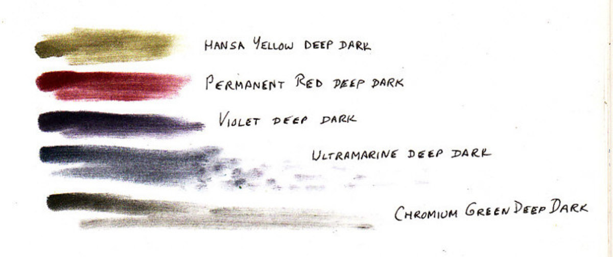 Five colors set of Pan Pastel Extra Deep Shades charted. Scan is true to colors. These are muted deep darks suitable for sketching and especially good for nature sketching.
