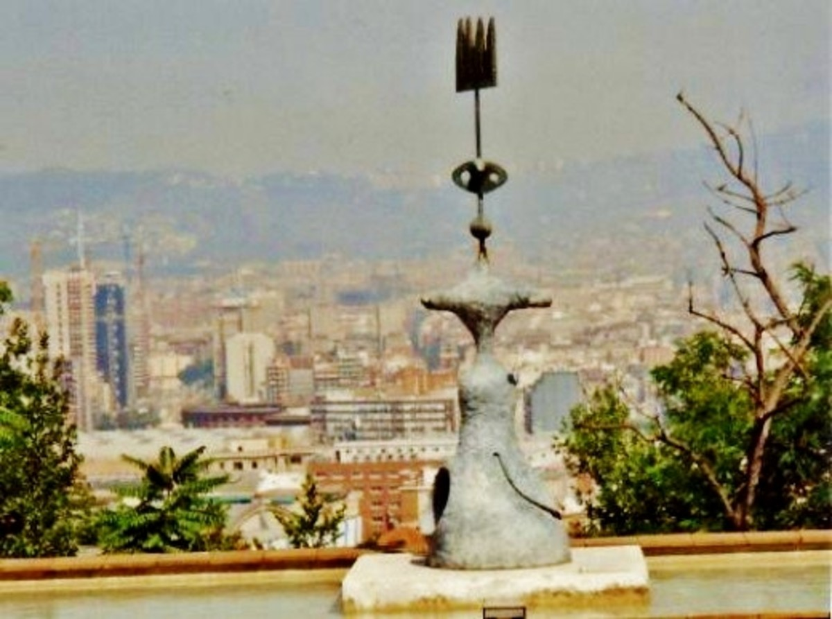 View of Barcelona below from atop Montjuic & the Miró Foundation.