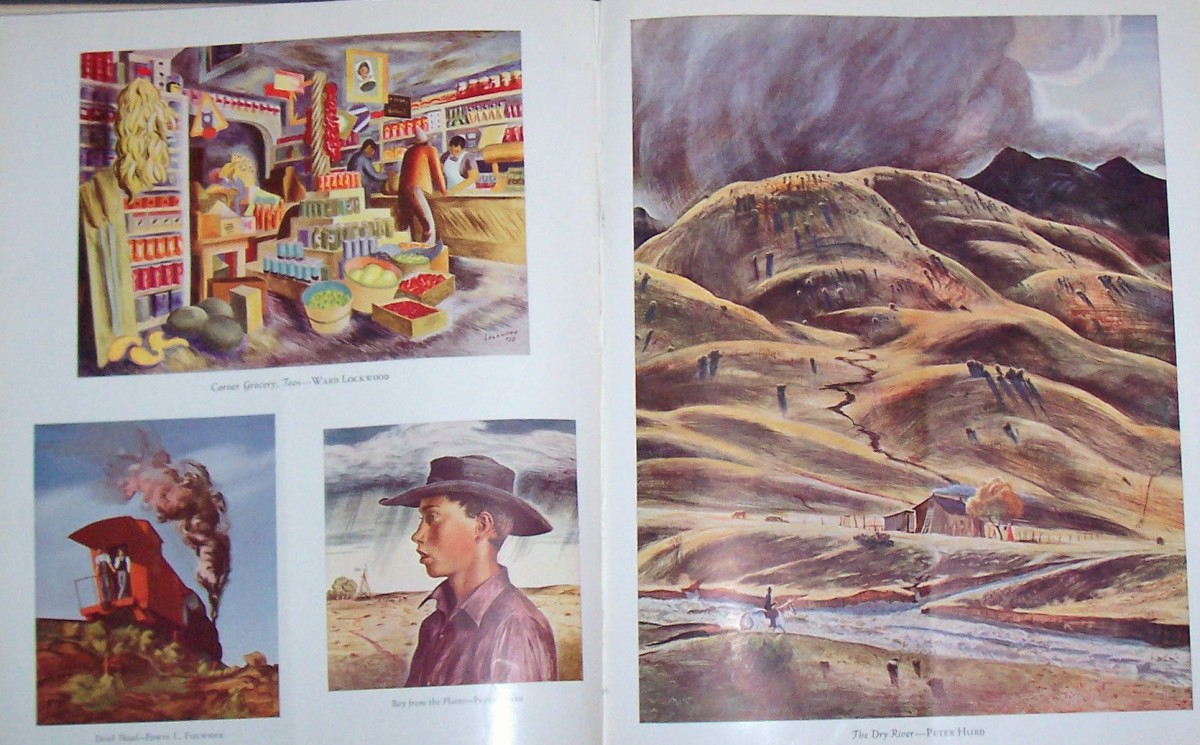 Pages with some of Hurd's artwork. The page on the right and the cowboy to the left are by Peter Hurd.