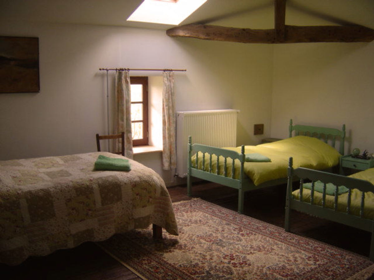 I changed the single bed on the left into a double bed.