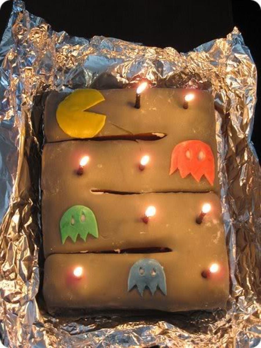 Pac Man Brownie Cake