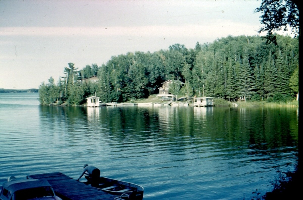Looking across the lake at Hibbard's Lodge from Keithan's cabin.