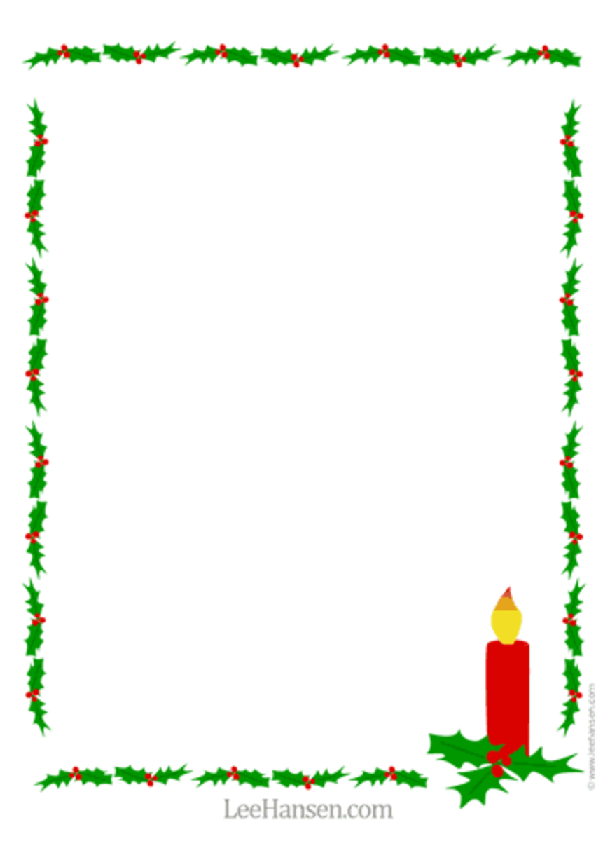 Christmas Letter Paper Holly and Candle