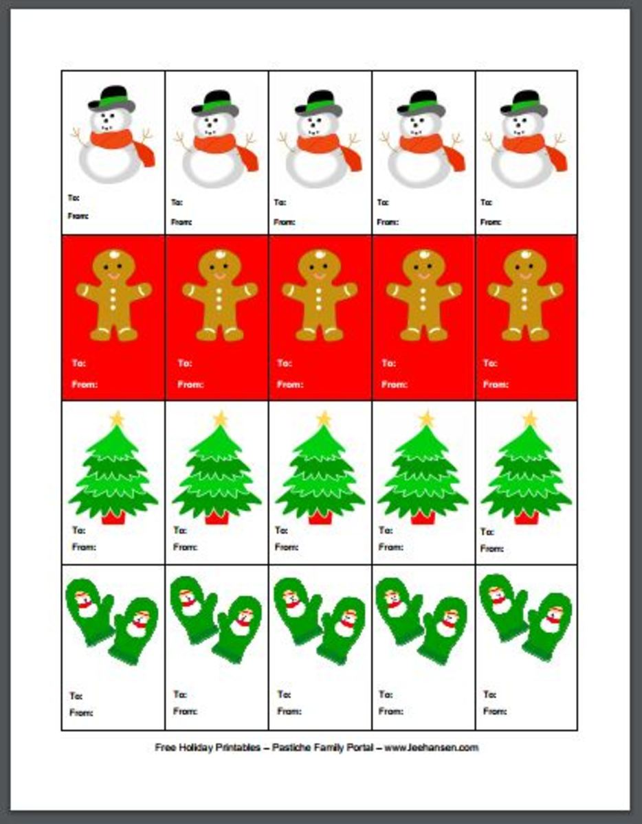 Printable Christmas gift tags designed by Lee Hansen