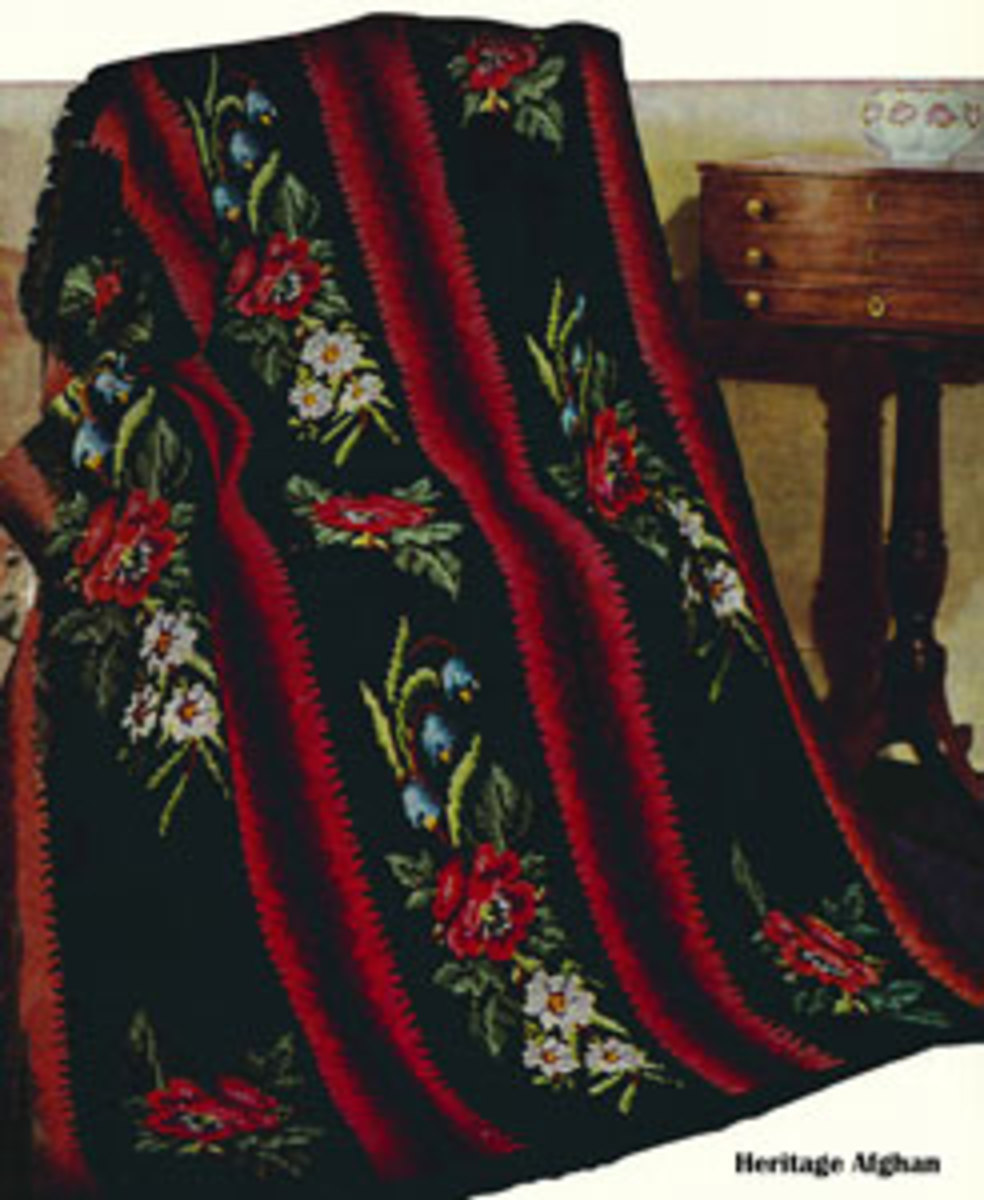 This is the Beautiful Heritage Afghan pattern.  Just one of the many outstanding afghan patterns on freevintagecrochet