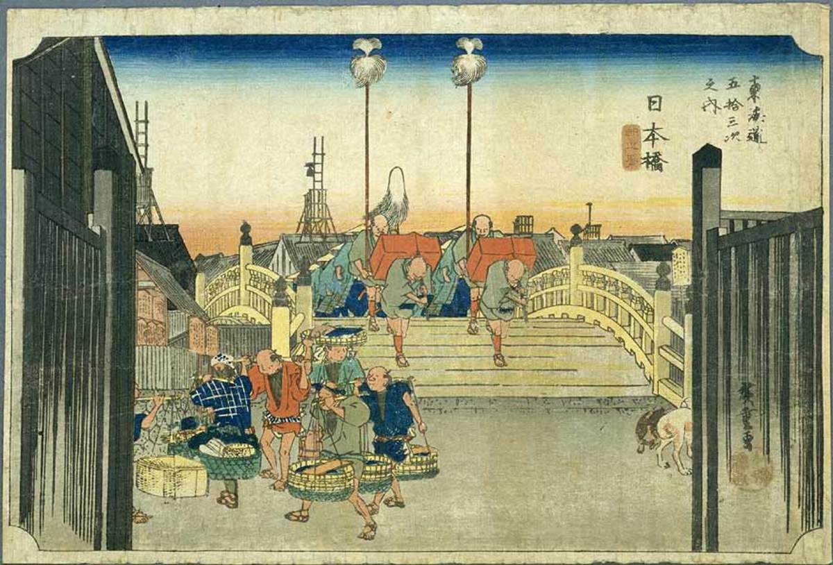 """Tokaido 53 Tsugi"" by Hiroshige  (The location depicted in this print is ""Nihonbashi"" in Tokyo)"