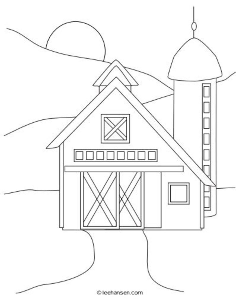 Farm coloring page - barn and fields