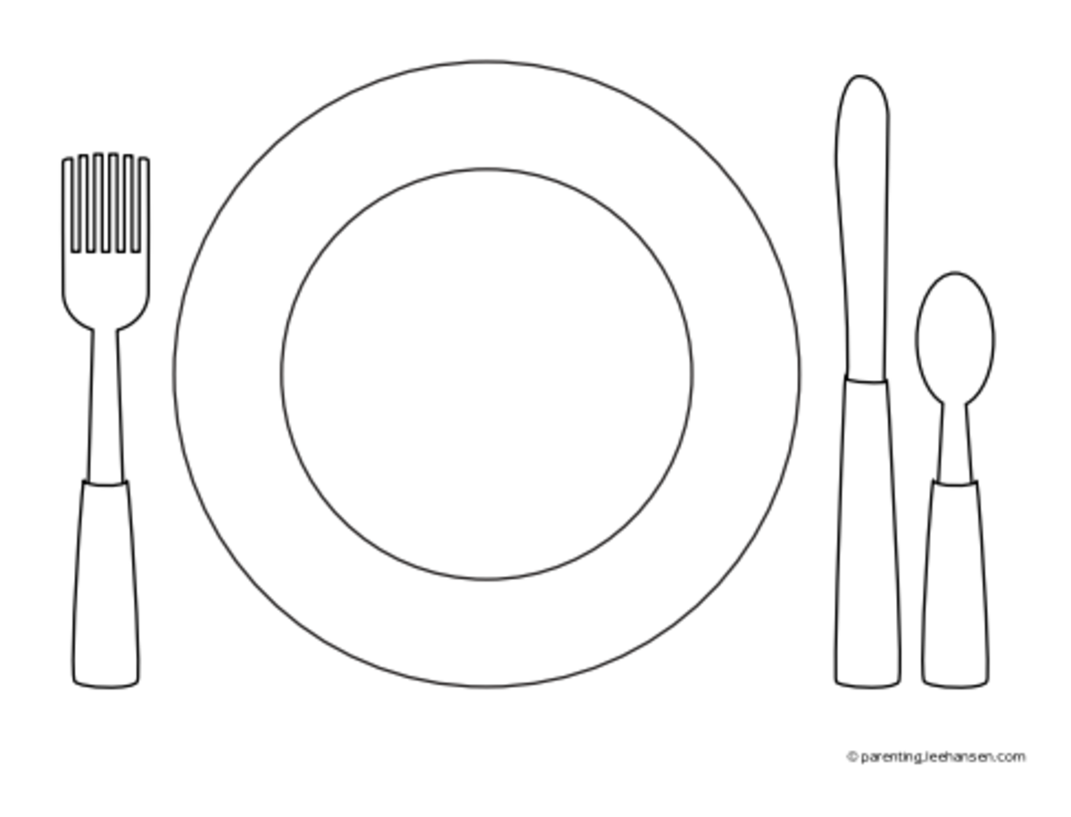 Table setting place mat activity sheet