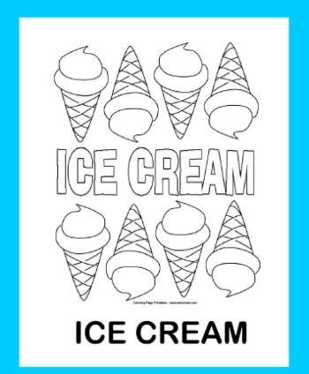 Ice Cream Cones Printable Coloring Page
