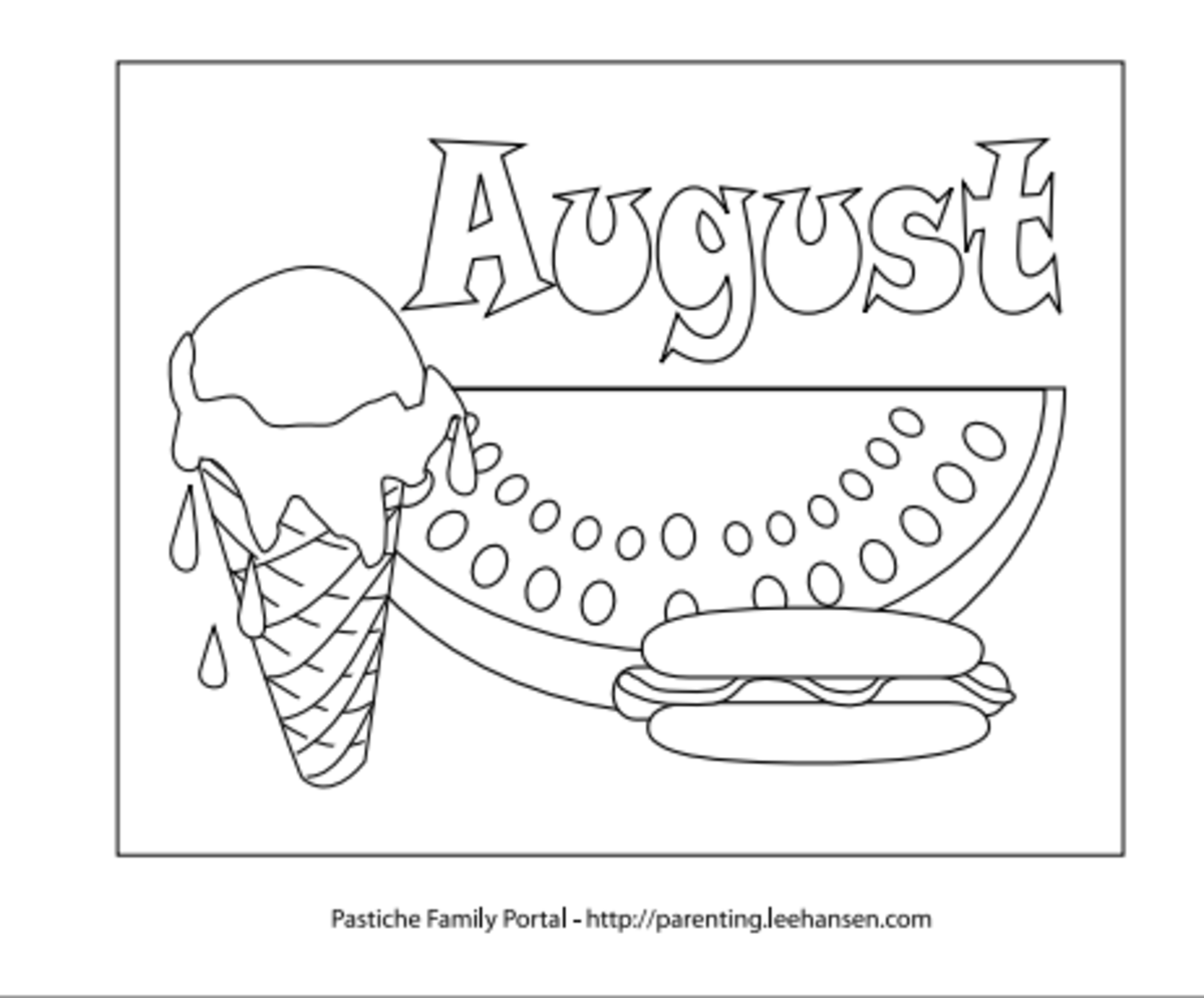 Fun Picnic Foods Coloring Page For August