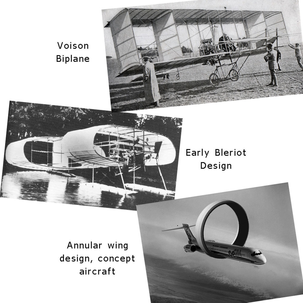 Box kite and annular wing aircraft designs.