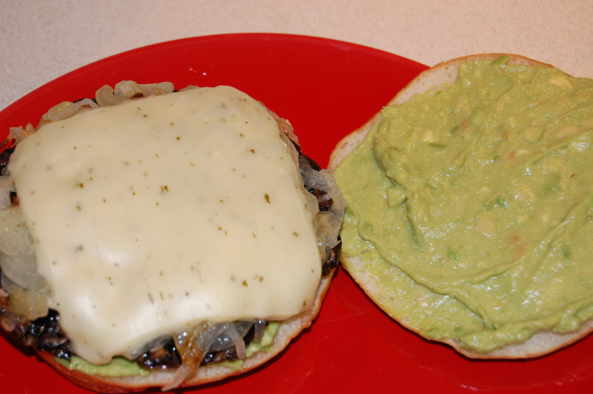 #22 Portobello Burger with caramelized onions, avocado, and garlic herb cheese.